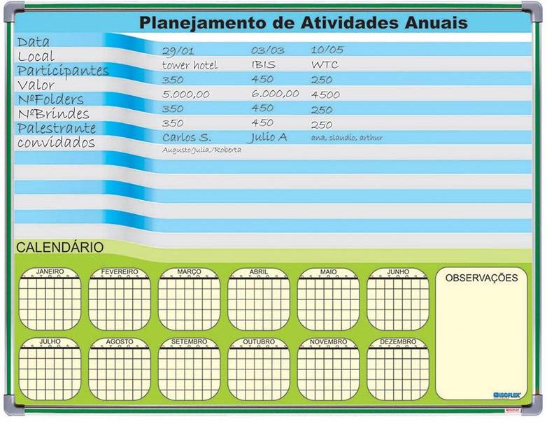 quadro de planejamento de atividades semanais
